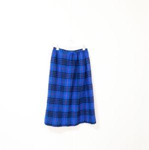 🖤Pendleton vintageblue black wool plaid skirt B20